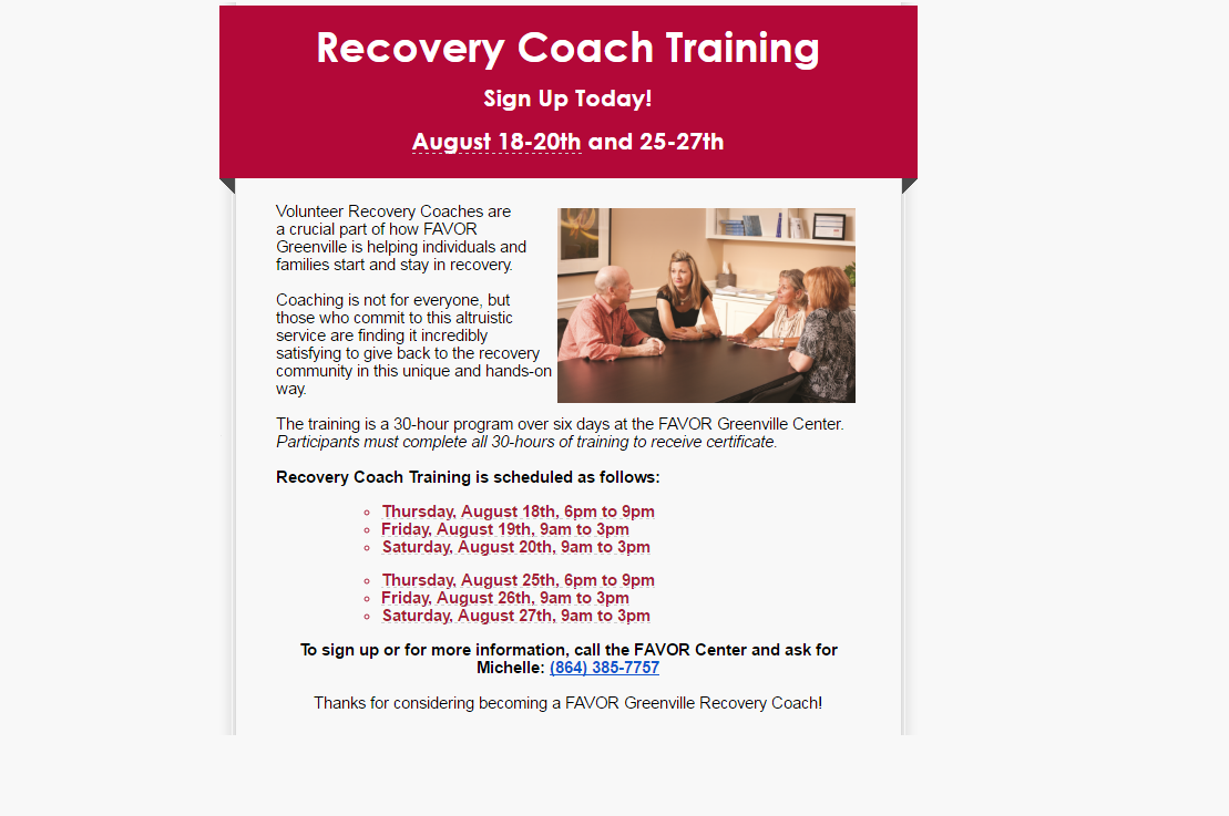 Recovery Coach Training Sign Up Today!